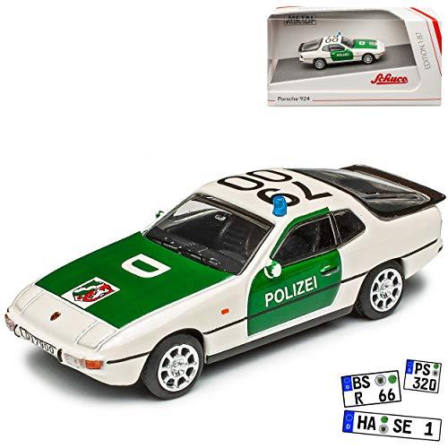 Porsche 924 Coupe Weiss Grün Polizei 1976-1988 H0 1/87 Schuco Modell Auto