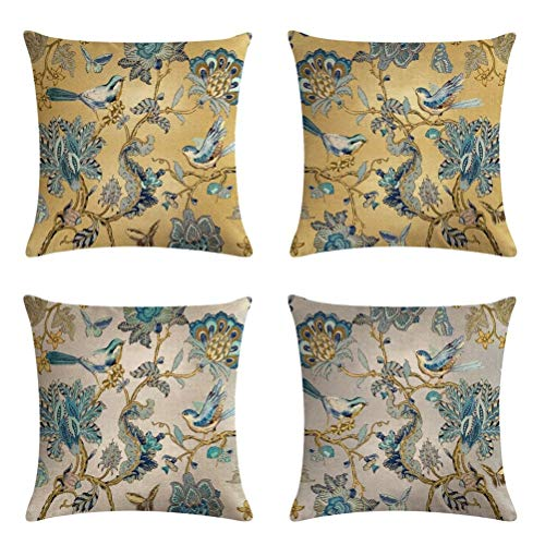 lucasng Golden Flowers And Birds Linen Cushion Covers Set Of 4 Pillowcase Throw Pillow Covers Sofa Couch Decor Pillow Covers 45 X 45 Cm…