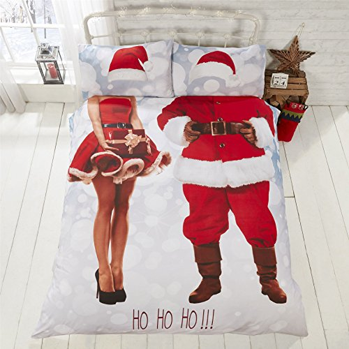 CHRISTMAS SELFIE MR&MRS SANTA CLAUS RED COTTON BLEND USA QUEEN SIZE (COMFORTER COVER 230 X 220 - UK KING SIZE) (PLAIN WHITE FITTED SHEET - 152 X 200CM + 25 - UK KING SIZE) 4 PIECE BEDDING SET