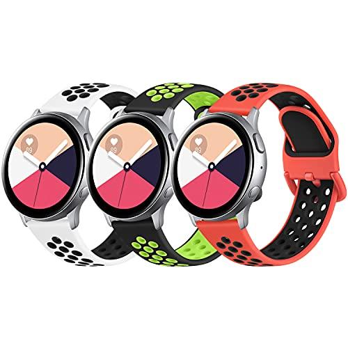 AMK 3 pulseras compatibles con Samsung Galaxy Watch Active/Active 2 40 mm 44 mm, 20 mm, silicona suave de repuesto para Samsung Galaxy Watch 42 mm/Galaxy Watch 3 41 mm