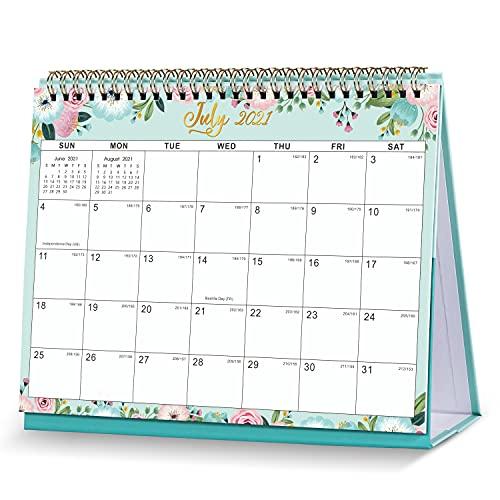 Calendario de escritorio 2021 2022 Calendario mensual 2021 2022 con 2 bolsillos Julio de 2021 - Diciembre de 2022 Calendario de escritorio con lista de tareas pendientes 26,5 x 21,5 x 8,5 cm