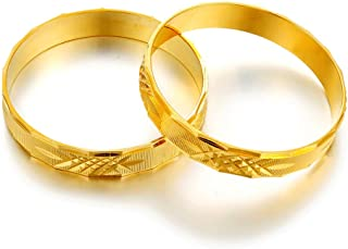 2pcs/lot,Gold Plated Bangles Bracelets Only for Newborn Baby/Infant/Toddler,Small Size