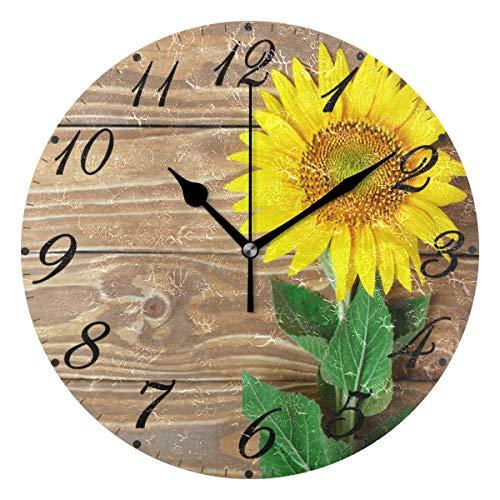 Jacque Dusk Reloj de Pared Moderno,Girasoles en Madera,Grandes Decorativos Silencioso Reloj de Cuarzo de Redondo No-Ticking para Sala de Estar,25cm diámetro