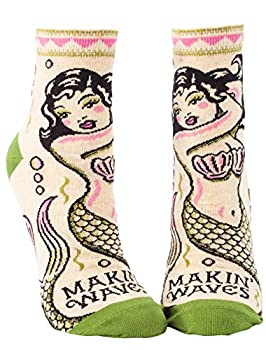 Blue Q Women s Funny Ankle Socks Making Waves Features vintage tattoo art  fit shoe size 5-10