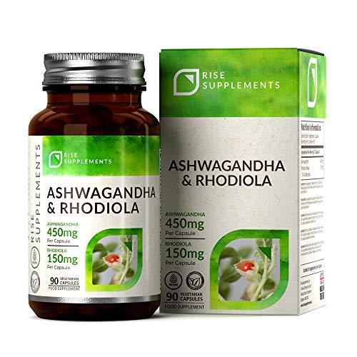 Ashwagandha 5% Withanolide [450mg] und Rhodiola Rosea 3% Salidroside [150mg] | 90 vegane Kapseln | Gegen Schlafstörungen | Ohne GVO, glutenfrei | Nootropikum aus...