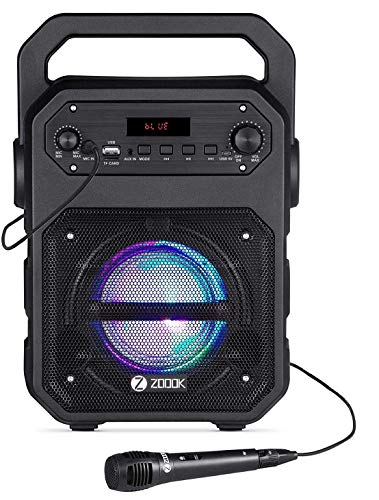 Zoook Rocker Thunder 20 watts Bluetooth Speaker with Karaoke Mic/TF/FM/LED/USB/Party Speaker (Black)