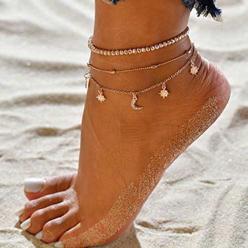 Simsly Beach Tassel Moon & Star Ankle Bracelet Beaded Cresent Foot Jewelry for Women and Girls (Gold/3PCS)