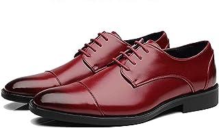 [hitstar] ビジネスシューズ メンズ 革靴 カジュアル 紳士靴 ブリティッシュ クラッシク 通勤 靴紐 革靴 滑り止め 通気(レッド,27.0)
