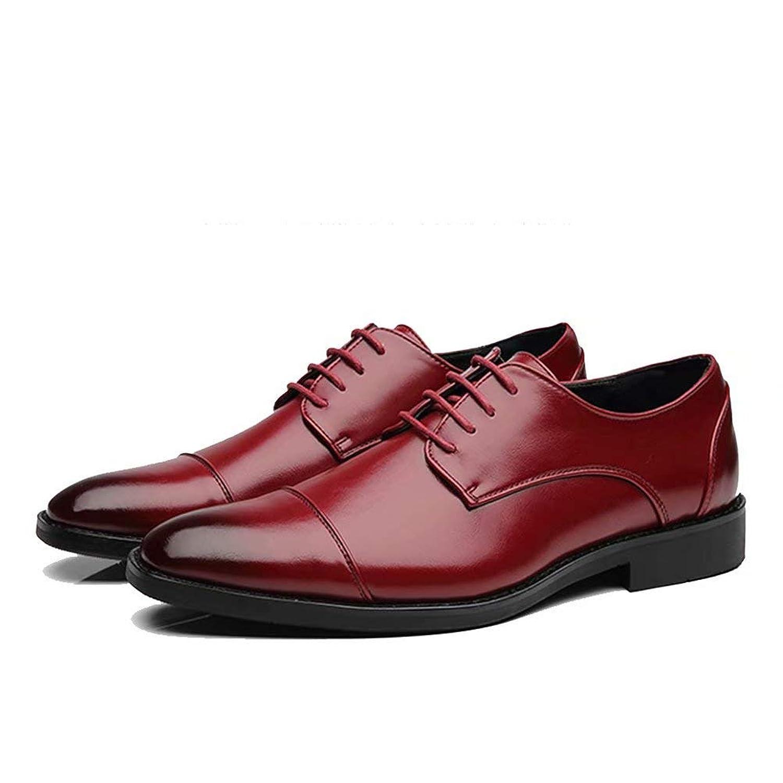 [hitstar] ビジネスシューズ メンズ 革靴 カジュアル 紳士靴 ブリティッシュ クラッシク 通勤 靴紐 革靴 滑り止め 通気(レッド,28.5)