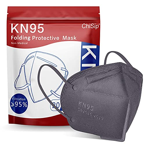 KN95 Face Mask 20Pcs, 5 Layer Design Cup Dust Safety Masks, Breathable Protection Masks Against PM2.5 Dust Bulk for Adult, Men, Women, Indoor, Outdoor Use, Gray