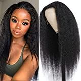 Italian Yaki Lace Front Wigs Human Hair 13x4 Kinky Straight Human Hair Wigs for Black Women 150% Density 10A Full Lace Front Wig Pre Plucked with Baby Hair NOBILITY Hair (18 Inch)