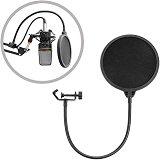 Upgrade Microphone POP Filter with Double Layer Screen and Flexible 360°Gooseneck Clip Stabilizing Arm for For Recordings,...