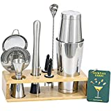 Magic Bartender Kit, 13 Piece Boston Cocktail Shaker Bar Tool Set with Stand : 1&2 oz Jigger, Weighted Boston Shaker, Professional Strainer Set