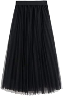 Women's Skirt Long Tulle Skirt Tutu Swing Skirts Pleated Maxi Chiffon Petticoat High Elastic Waist Midi Skirt Flowing Big ...