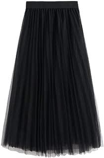 Women's Long Tulle Skirt Tutu Swing Skirts Pleated Maxi Chiffon Petticoat High Elastic Waist Midi Skirt Flowing Big Hem Skirt