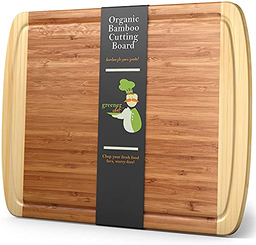 Greener Chef Extra Large Bamboo Cutting Board - Lifetime Replacement Cutting Boards for Kitchen - 18...