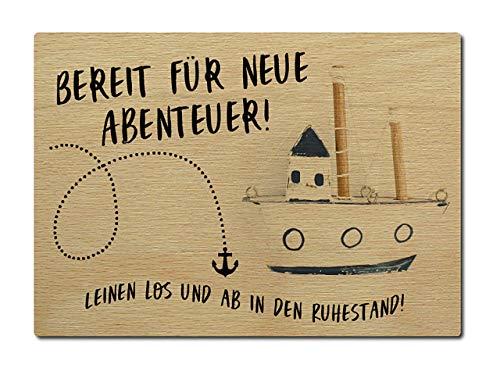 Interluxe Postkarte aus Holz Bereit für neue Abenteuer Leinen los Ruhestand Rentner Rente DIN A6 105x148mm Karte Echtholz Grußkarte Spruch