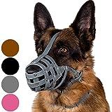 CollarDirect Dog Muzzle German Shepherd Dalmatian Doberman Setter Leather Basket Medium Large Breeds Black Brown (L, Grey)