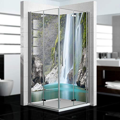 dedeco Eck-Duschrückwand wasserfest mit Wasserfall V15 Motiv - 2 x 90x200 cm, als Badrückwand zum Fliesenersatz, als Dekorwand, Wandverkleidung und Duschplatte aus Aluminium - Made in Germany