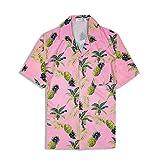 アロハシャツ メンズ 半袖 ハワイ風 プリントシャツ 通気速乾 軽量 花柄シャツ 夏 ビーチ ウェディング ウエア パイナップル ピンク XL