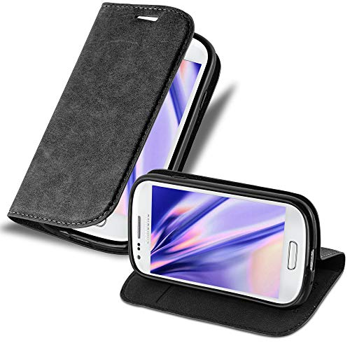 Cadorabo Hülle für Samsung Galaxy S3 Mini - Hülle in Nacht SCHWARZ – Handyhülle mit Magnetverschluss, Standfunktion und Kartenfach - Case Cover Schutzhülle Etui Tasche Book Klapp Style