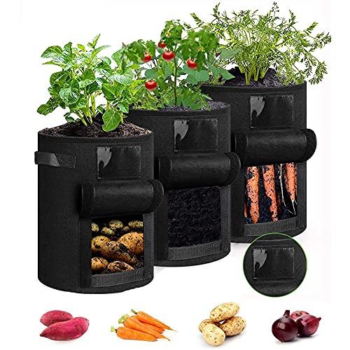 Bolsas de Cultivo para Patatas,Bolsa de Cultivo de Plantas ,con Ventana y Asa Transpirables, para...