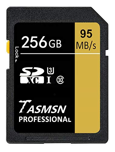 Carte mémoire SDXC 256 Go UHS-I U3 Classe 10 Haute vitesse jusqu'à 95 Mo/s pour vidéo Full HD et appareil photo numérique