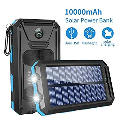 Solar Charger,10000mAh Solar Power Bank Portable External Backup Battery Pack Dual USB Solar Phone Charger with 2LED Light Carabiner and Compass for Your Smartphones (Dark Blue)