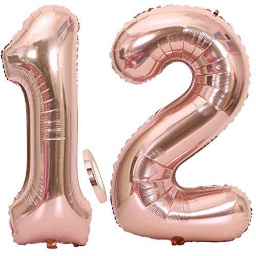 Feelairy Luftballons 12. Geburtstag XXL Rose Gold, 2 Stück Riesen Folienballon Zahl 12 mit Band Nummer Ballons 40