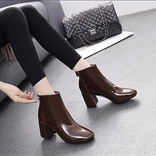 KHSKX-marrón 7Cm Versión Coreana De Cuero Pintado Irregular Con botas Cortas De Invierno Jefe Del Partido Nuevo Cremallera En El Cuero Algodón Plus botas De Terciopelo Martin botas botas Hembra 36
