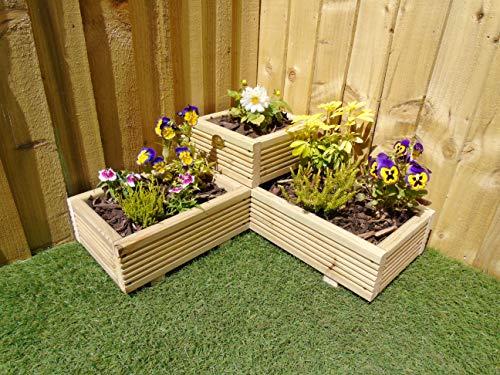 Corner Garden Wooden Decking Planter Plant Pot - Steps Herb Flower Timber Patio (Natural)