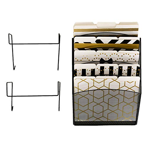 Office Cubicle Accessories Black Wire Mesh 5 Tier Hanging Wall File Organizer – 2 Hooks – Doors and Cubicle Hangers, Screws for Wall Mount – Cubicle Organizer