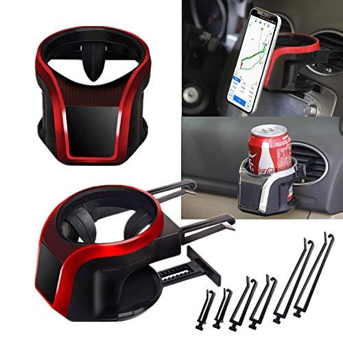Mioke Getränkehalter Auto 2 in 1 Flaschenhalter Kaffee Handy Halterung Lüftung Multifunktion Auto Lüftungshalterung Handyhalterung (Rot)