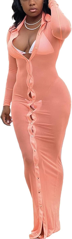 Women Swimsuit Bikini Cover Up Dress Long Sleeve Button Down Sheer Mesh Bodycon Beach Maxi Long Dress