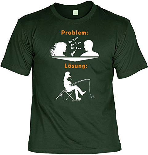 Angler Fun T-Shirt - Bla Bla Bla Lösung zum Problem! - Tshirt mit Urkunde! Fischer Geburtstag