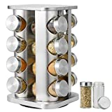 SMRONAR Estantería para especias con 16 tarros de especias de acero inoxidable, giratorio 360°, decoración de estilo artístico, para casa y cocina