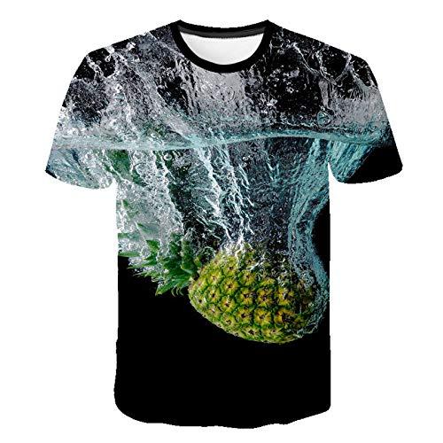ASDWA 3D Impreso Camisetas,Patrón De Fruta De Piña Vintage Negro Unisex Camisetas Impresas En 3D Transpirable Verano Cuello Redondo Camisetas Casuales Manga Corta para Niñas Adolescentes, XL