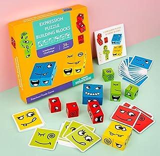 Träbyggklossar leksak, träuttryck matchande block pussel, emoji-matchande pussel, byggkuber leksak boradspel, magisk ansik...