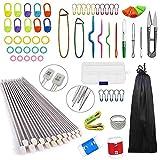 Anyasen 80 piezas Kit de tejer Kit de Ganchillos Accesorios Agujas de Tejer Kit...
