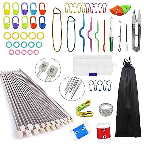 Anyasen 80 piezas Kit de tejer Kit de Ganchillos Accesorios Agujas de Tejer Kit Agujas de punto Agujas de Ganchillos para Ganchillo Crochet Novatos costura principiante