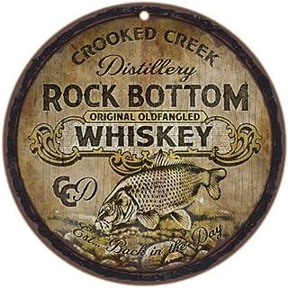 "SJT ENTERPRISES, INC. Crooked Creek Distillery Rock Bottom Original Oldfangled Whiskey 10"" Round Wood Plaque, Sign - Featu..."