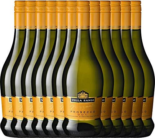 VINELLO 12er Weinpaket Perlwein - Prosecco Frizzante DOC - Villa Sandi mit Weinausgießer   fein-prickelnder Prosecco   italienischer Perlwein aus Venetien   12 x 0,75 Liter