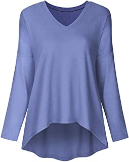 Howely Womens Pullover Long Sleeves Solid-Colored V Neck Autumn Winter T Shirts