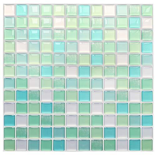 Yoillione 3D Fliesenaufkleber Mosaik Bad Fliesenfolie Küche Selbstklebende 3D Mosaik Fliesen Sticker Grün, Wasserdicht Fliesensticker Aufkleber Fliesen Folie für Badezimmer Wohnzimmer, 4er Pack