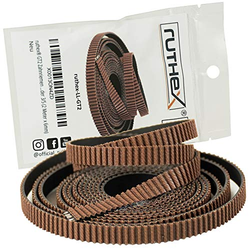 ruthex GT2 correa dentada (5m x 6mm) - Cuerda de tracción de fibra de vidrio - para impresoras 3D Prusa i3 - Anet A8 A6 - Anycubic i3 Mega - Ender 3/5