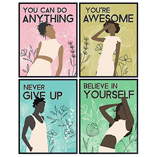 Black African American Women Positive Quotes Wall Art Decor - Uplifting Encouragement Gift for Women, Girls, Teens, BFF, Best Friend - Inspirational Motivational Room Decoration for Bedroom, Bathroom