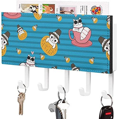 Soporte para llaves para gancho para llaves montado en la pared, Best Cool Cup Cats con gafas de sol, soporte para correo de entrada a la pared, organizador de llaves decorativo con 5 ganchos