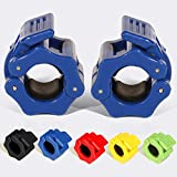 GWTech Barbell Clamps 1 inch, Heavy Duty Exercise Collars 1' Quick Release Pair of Locking Pro Olympic Weight Bar Plate Locks Collar Clips for Workout Weightlifting Fitness Training (Blue)