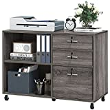 YITAHOME Wood File Cabinet, 3 Drawer Mobile Lateral Filing Cabinet, Storage Cabinet Printer Stand with 2 Open Shelves for Home Office Organization,Grey