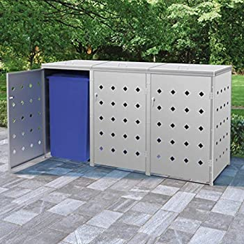Unfade Memory Garbage Bin Shed Stainless Steel Trash Container Management Unit Enclosure  81.5  x 30.5  x 45.3